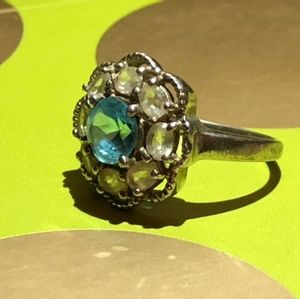 Blue Topaz & White Topaz Brilliant Ring 6.5